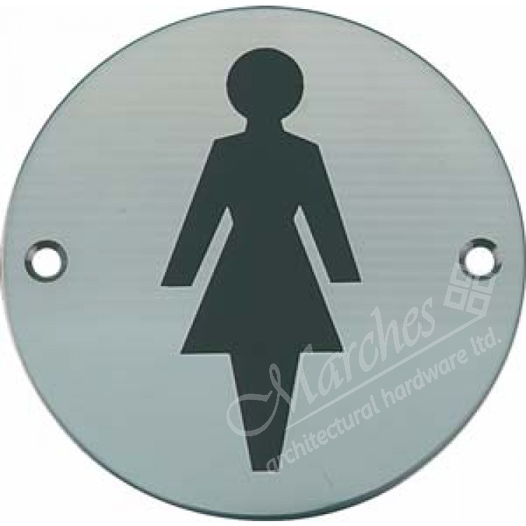 Female Toilet Sign Satin Stainless Steel Signs Commercial Hardware Door Furniture