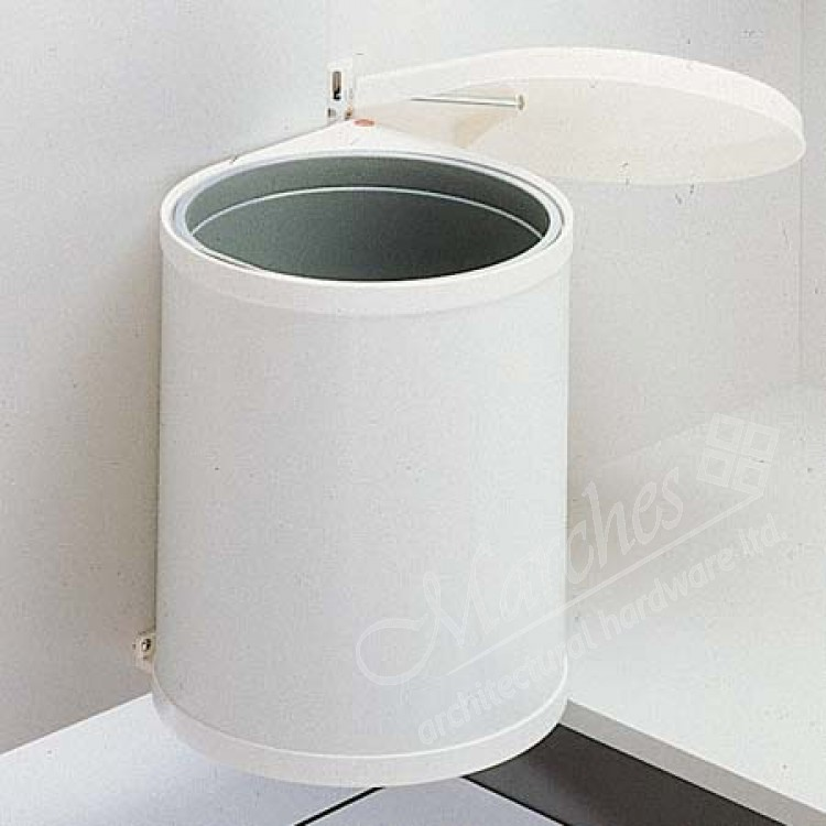 Swing out waste bin 12ltr cream white bins hinged door for White ceramic bathroom bin