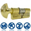 40/40 3 Star Euro Cylinder with Thumbturn Polished Brass