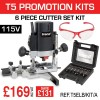 "T5ELB/KIT/A - 1000W 1/4"" 115v Router, 6PC Cutter Set & Safety Glasses Set"
