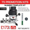 "T5ELB/KIT/C - 1000W 1/4"" 115v Router, Number Template, Cutter & Brush Set."