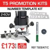"T5EB/KIT/C - 1000W 1/4"" 240v Router, Number Template, Cutter & Brush Set."