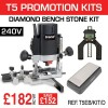"T5EB/KIT/D - 1000W 1/4"" 240v Router, Diamond Bench Stone & Digital Depth Gauge"