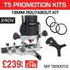 "T5EB/KIT/G - 1000W 1/4"" 240v Router, 18mm Routabout Cutter Jig & Routabout Rings (10)"