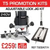 "T5ELB/KIT/H - 1000W 1/4"" 115v Router, Adjustable Lock Jig & 12mm Router Cutter"